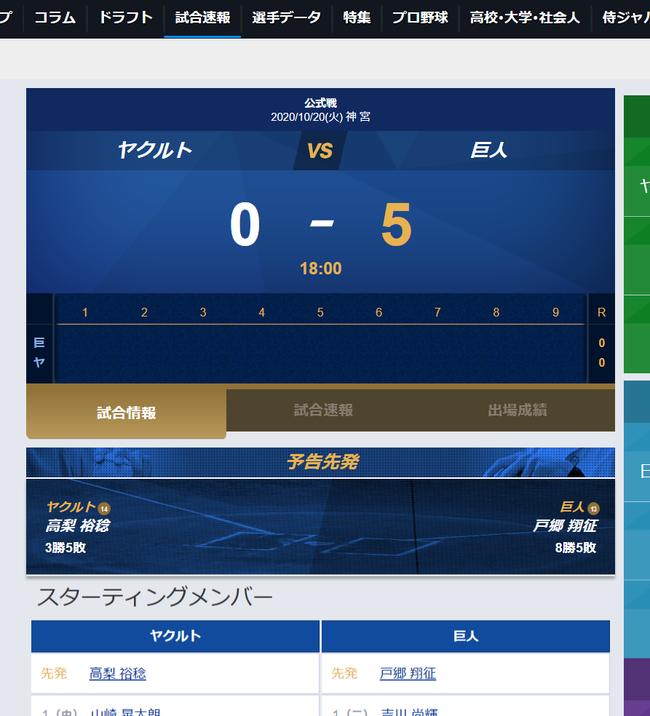 【速報】巨人VSヤクルト、試合前なのに巨人が5点を先制