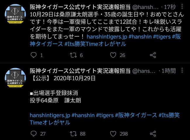 阪神タイガース公式Twitter「今日は選手の誕生日か…せや!」