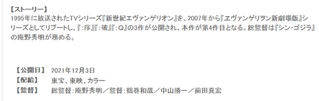 『シン・エヴァ』2021年12月3日公開!?!?