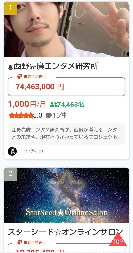 【大富豪】キングコング西野さんのオンラインサロン(月額1000円)、会員7万4千人www