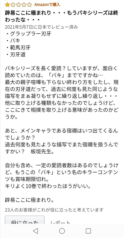 『バキ道』最新刊のAmazonレビューが辛辣w.w.w.w.w.w.w.w