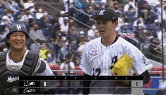 佐々木朗希、初回2被安打も無失点→荻野マーティンの2者連続ホームラン